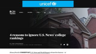 4 reasons to ignore U.S. News' college rankings - CBS News