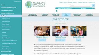 For Patients - Maryland Oncology