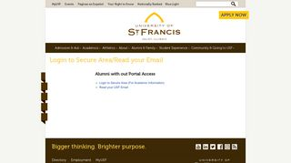 Login to Secure Area/Read your Email - University of St. Francis