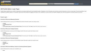 UW Flexible Option: Login Pages - UW Milwaukee Unified KB