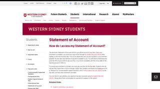 Statement of Account | Western Sydney University
