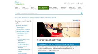 Recreational activities   City of Vancouver