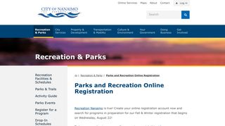 Parks and Recreation Online Registration - The City of Nanaimo