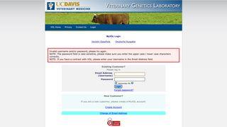 MyVGL Login - UC Davis Veterinary Genetics Laboratory