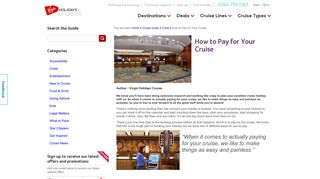 How to Pay for Your Cruise – Virgin Holidays Cruises