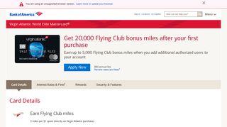 Virgin Atlantic World Elite Mastercard® - Bank of America