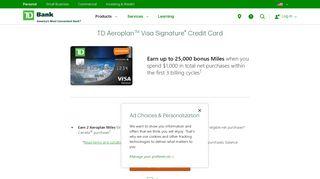 Air Canada Miles Card | TD Aeroplan Visa Signature Credit Card