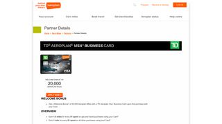 td ® aeroplan ® visa* business card