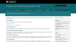 Virtual Learning Environment (VLE)   Institute of Continuing Education ...