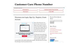 Way2sms.com Login, Sign Up / Register, Create Account   Customer ...