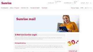 E-Mail von Sunrise: Login