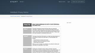 WebBank Privacy Notice - Avant