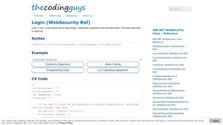 WebSecurity Login   the coding guys