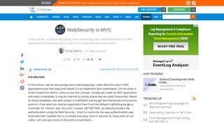 WebSecurity in MVC - C# Corner