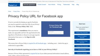 Privacy Policy URL for Facebook app - TermsFeed
