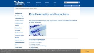 Email Information and Instructions | Webster University