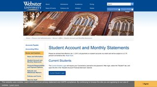 Student Account and Monthly Statements | Webster University