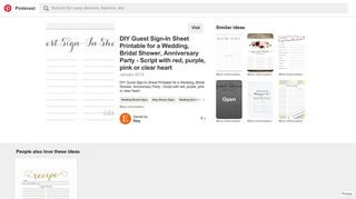 DIY Guest Sign-In Sheet Printable for a Wedding, Bridal ... - Pinterest