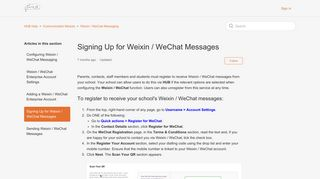Signing Up for Weixin / WeChat Messages – HUB Help