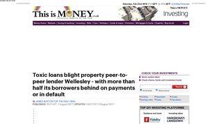 Toxic loans blight peer-to-peer lender Wellesley | This is Money