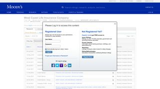 West Coast Life Insurance Company Credit Rating - Moody's