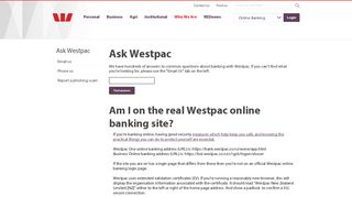 Am I on the real Westpac online banking site? - Ask Westpac ...