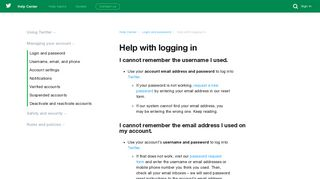 Help with logging in - Twitter support