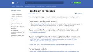 I can't log in to Facebook. | Facebook Help Center | Facebook