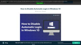 How to Disable Automatic Login in Windows 10 - Securicy