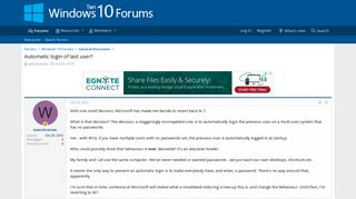Automatic login of last user? | Windows 10 Forums
