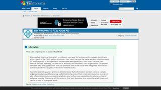 Join Windows 10 PC to Azure AD | Tutorials - Windows 10 Forums