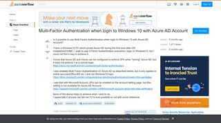 Multi-Factor Authentcation when login to Windows 10 with Azure AD ...