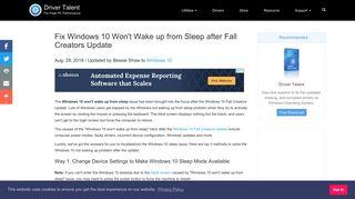 Fix Windows 10 Won't Wake up from Sleep after Fall Creators Update ...