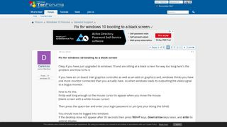 Fix for windows 10 booting to a black screen Solved - Windows 10 ...