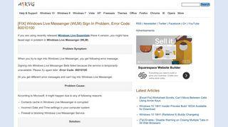[FIX] Windows Live Messenger (WLM) Sign In Problem, Error Code ...