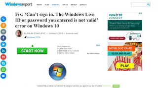 Fix: 'Can't sign in. The Windows Live ID or password you entered is not ...