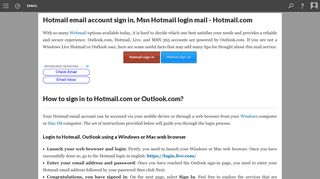 Hotmail email account sign in, Msn Hotmail login mail - Hotmail.com