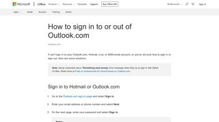 How to sign in to or out of Outlook.com - Outlook - Office Support