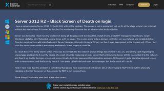 Server 2012 R2 - Black Screen of Death on login. - Experts Exchange