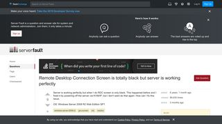 Remote Desktop Connection Screen is totally black but server is ...
