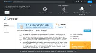 boot - Windows Server 2012 Black Screen - Super User