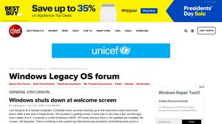 Windows shuts down at welcome screen - Forums - CNET