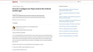How to configure my Wipro mail in the Outlook mobile app - Quora