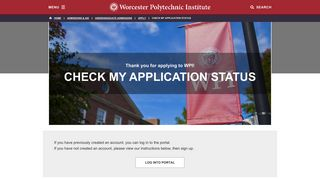 Check My Application Status - Worcester Polytechnic Institute