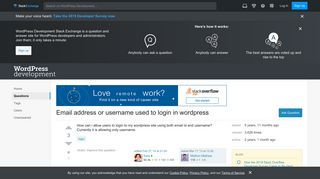 Email address or username used to login in wordpress - WordPress ...