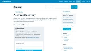 Account Recovery — Support — WordPress.com