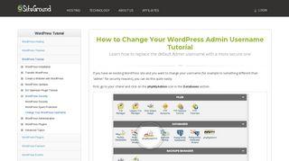 How to Change Your WordPress Admin Username Tutorial - SiteGround