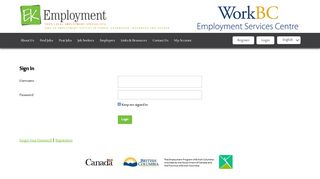EK Employment - WorkBC Employment Services Centre: Sign In