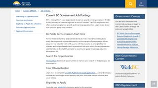 Current BC Government Job Postings - Province of British Columbia