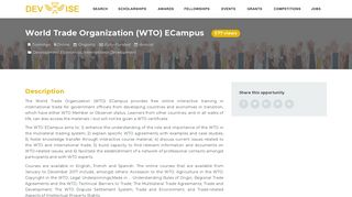 World Trade Organization (WTO) ECampus | DevWise